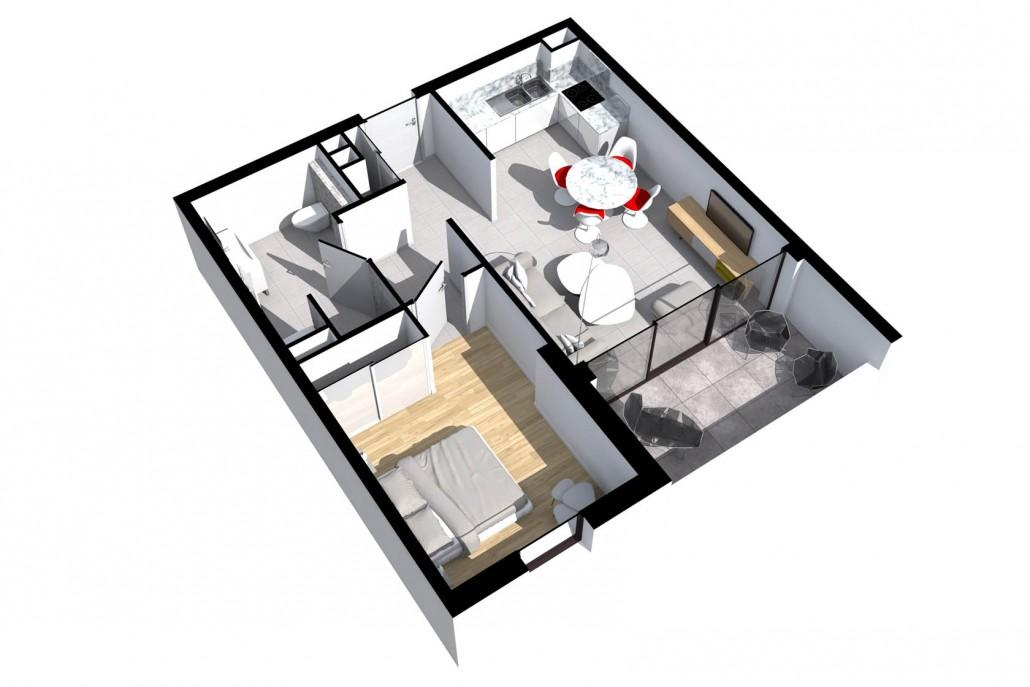 Appartements t2 trinitalba for Cuisine ouverte reglementation